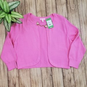 Lilly Pulitzer Flora Simple Cardigan Hibiscus Pin